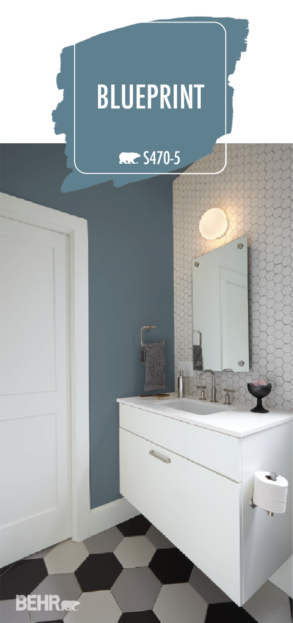 Blueprint The Behr 2019 Color Of The Year Completes The Look Of This Modern Bathroom Whe Bathroom Color Schemes Bathroom Paint Colors Behr Painting Bathroom