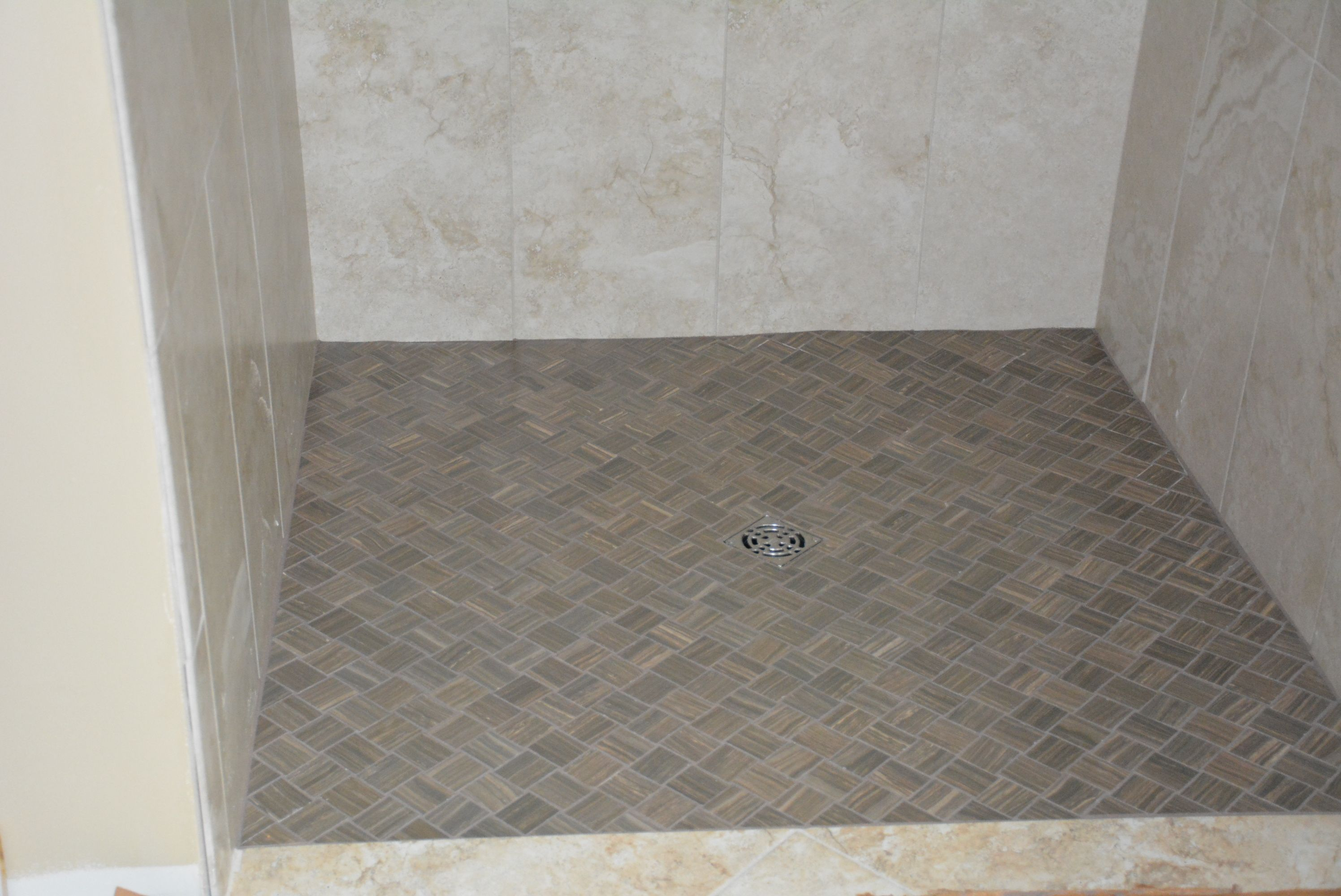 Basketweave Shower Floor On Diagonal Anatolia Eramosa Natural 2x2 Shower Floor Shower Bath Shower Wall