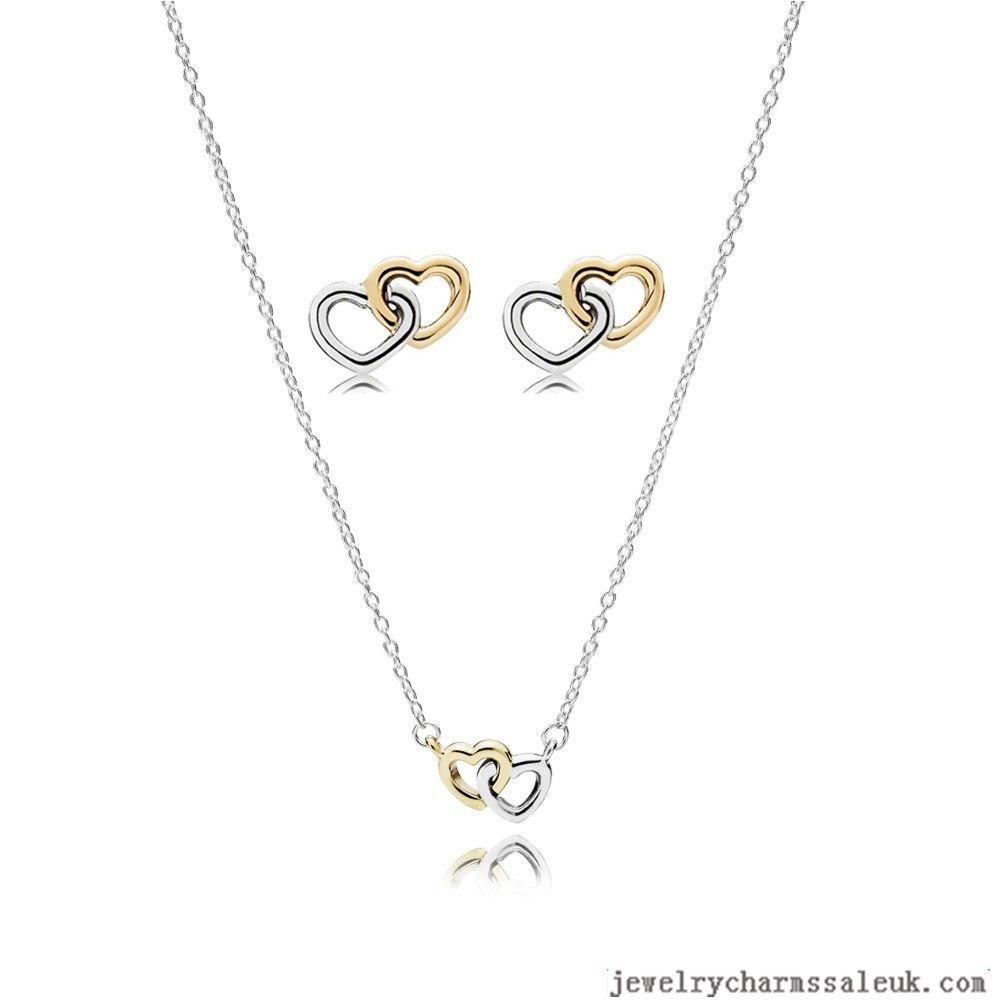 Pandora Silver 14k Interlocking Hearts Jewellery Set 791051cfp Heart Jewelry Set Pandora Silver Jewelry Set
