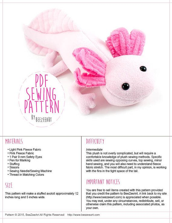 Axolotl Stuffed Animal Sewing Pattern, Plush Toy Pattern, PDF Tutorial, Digital Download Sewing Pattern
