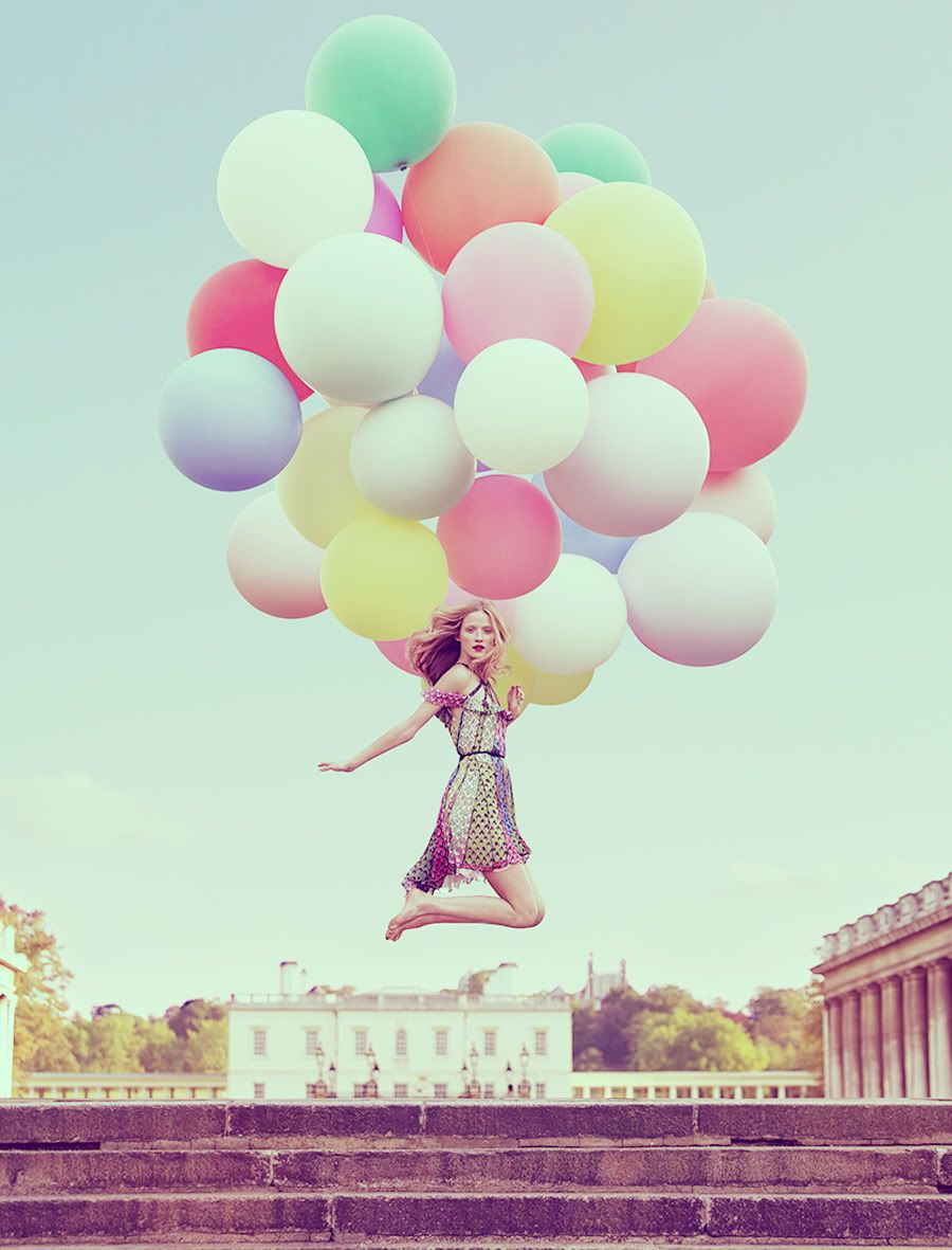 Fashion photography with balloons