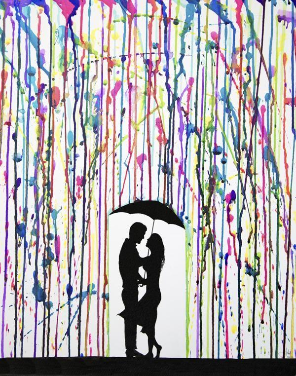 Melted Crayon Art Umbrella Silhouette