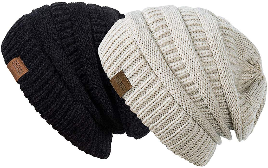 7878d160415 Amazon.com  REDESS Slouchy Beanie Hat for Men and Women 2 Pack Winter Warm  Chunky Soft Oversized Cable Knit Cap (Two Pack Black   Oatmeal)  Clothing