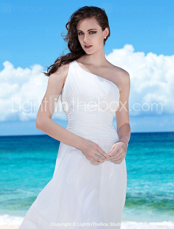 Sheath / Column One Shoulder Tea Length Chiffon Wedding Dress with ...