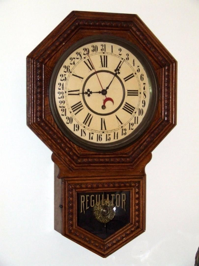 Vintage admiral gilbert clock wall school short drop this is a rare antique working gilbert school house calendar regulator wall clock made by the gilbert clock company winsted conn amipublicfo Choice Image