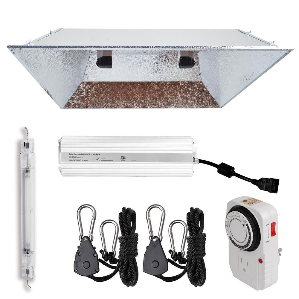 Hydro Crunch 1000 Watt Double Ended Hps 120 240 Volt Grow Light System With De Xxl Open Hood Grow Light Reflector Grey Lighting System Grow Lights Home Depot