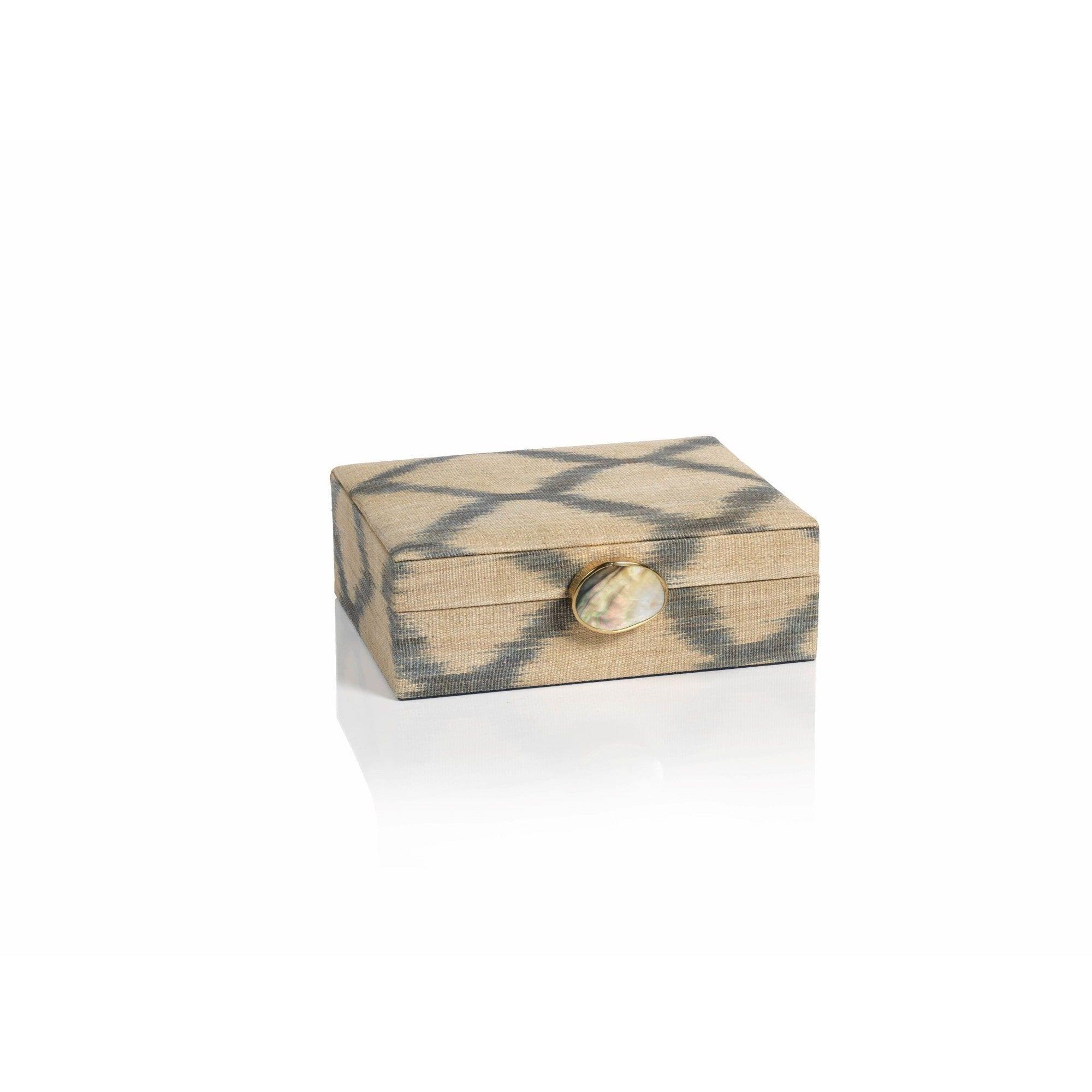 Decorative Photo Boxes Zodax 9Inch Long Ikat Decorative Storage Box With Shell & Brass