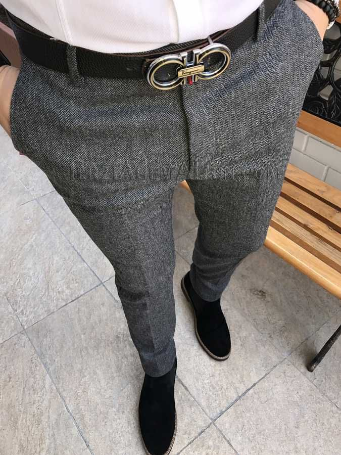489210939e1d3 Michail score dar kesim likralı kışlık erkek kumaş pantolon T1804 ...