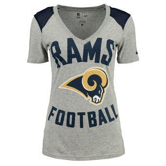 63994be33 Nike Los Angeles Rams Women s Gray Stadium Football V-Neck Performance T- Shirt  rams  larams  nfl