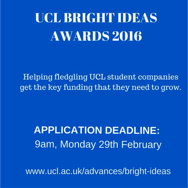 What UCL Bright Ideas Awards? Information session 26th Jan 1-2pm http://buff.ly/1T7HMZt  #uclstudent @UCLAdvances