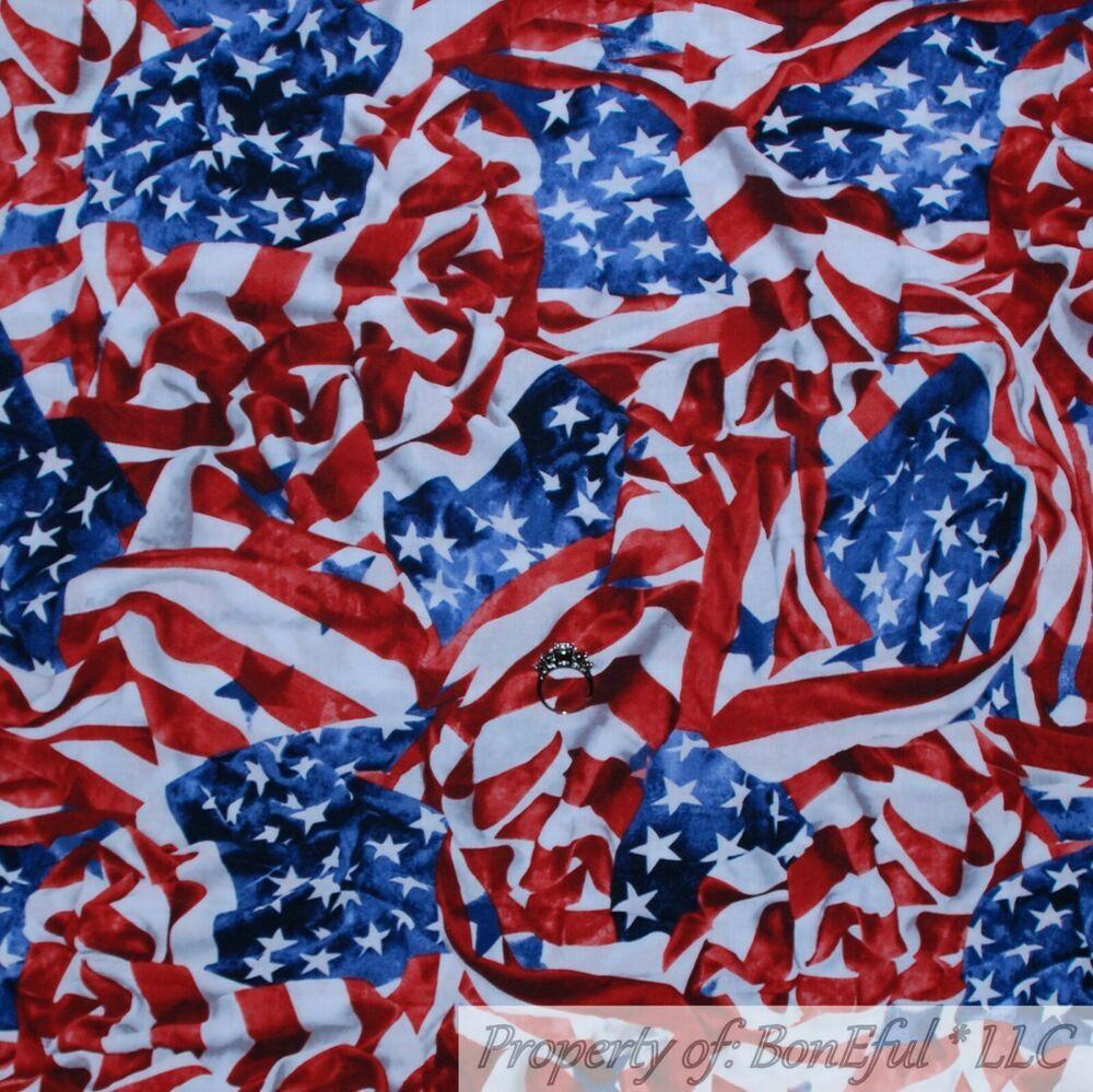 Wavy Flag American USA Patriotic Red Cotton Fabric FQ