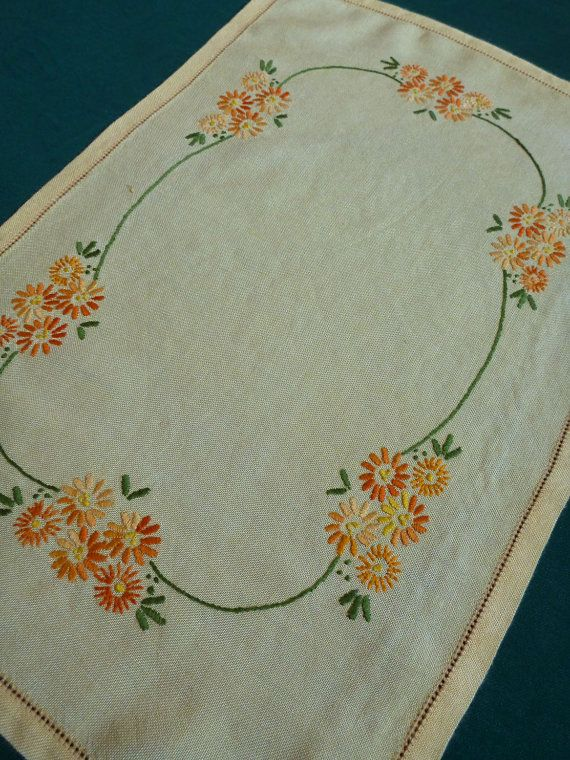 Vintage Embroidered Cotton Table Runner Tray Cloth Floral Embroidery Flowers