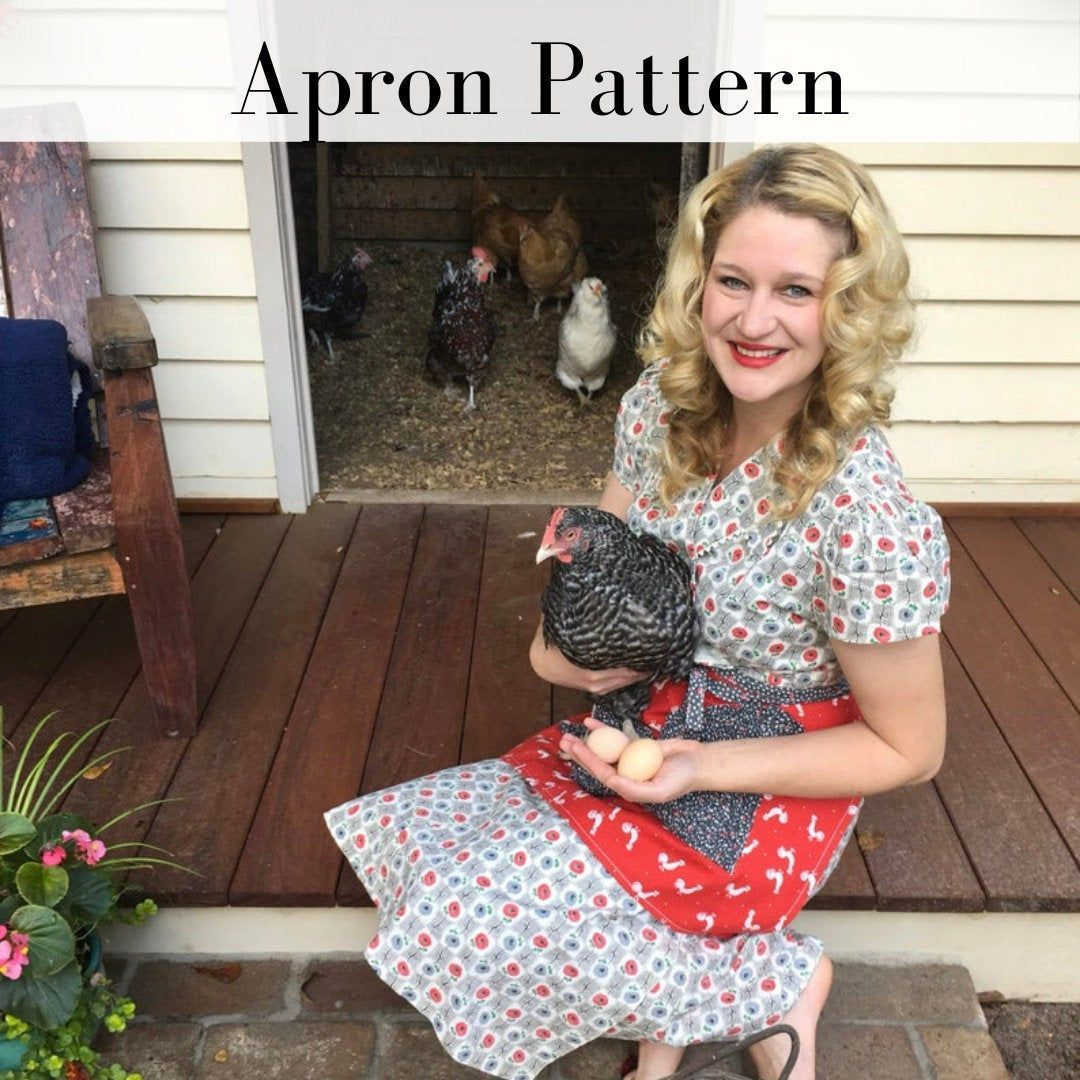 Egg Gathering Apron Pattern  Egg Apron  Half Apron  Sewing Patterns  Chicken Coop  Elastic Thread Projects  Stretchy Pocket Apron Source by aunthenri Aprons