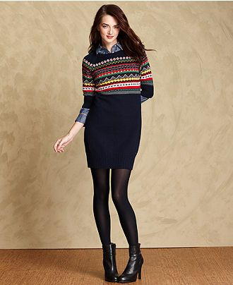Tommy Hilfiger Dress, Short-Sleeve Fair-Isle Sweater - Womens ...