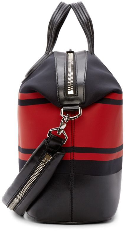 a75d13a6cb5a Givenchy Black   Red Striped Neoprene Nightingale Tote