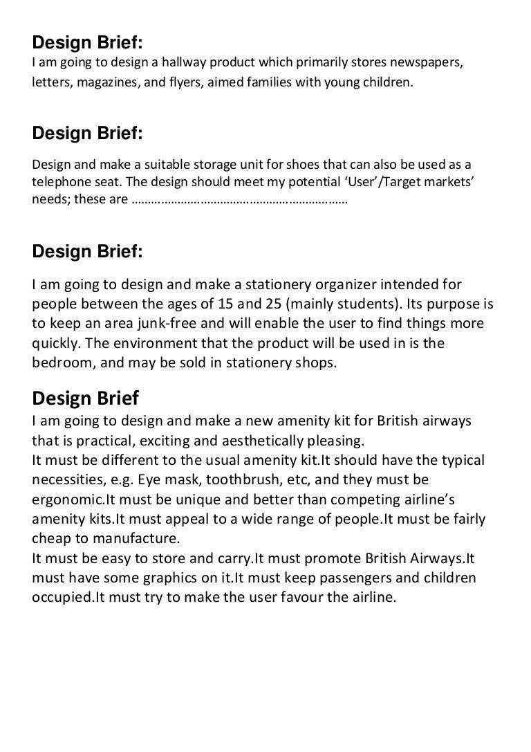 DesignBriefSamples By David Hassett Via Slideshare  Design
