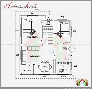 2 BEDROOM HOUSE PLAN AND ELEVATION IN 700 SQFT ...