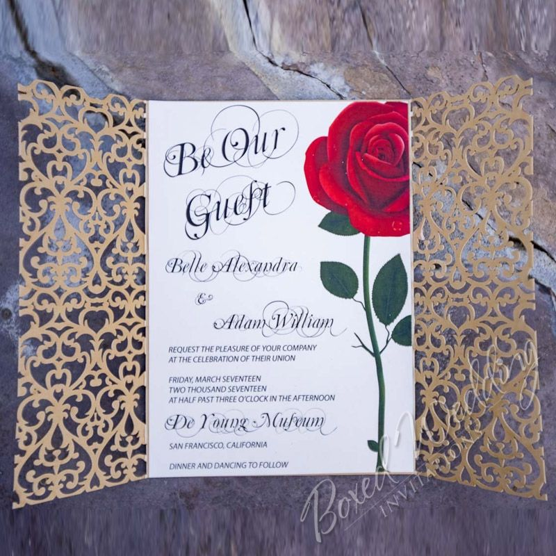 beauty and the beast inspired invitation beautyandthebeastinvitation - Beauty And The Beast Wedding Invitations