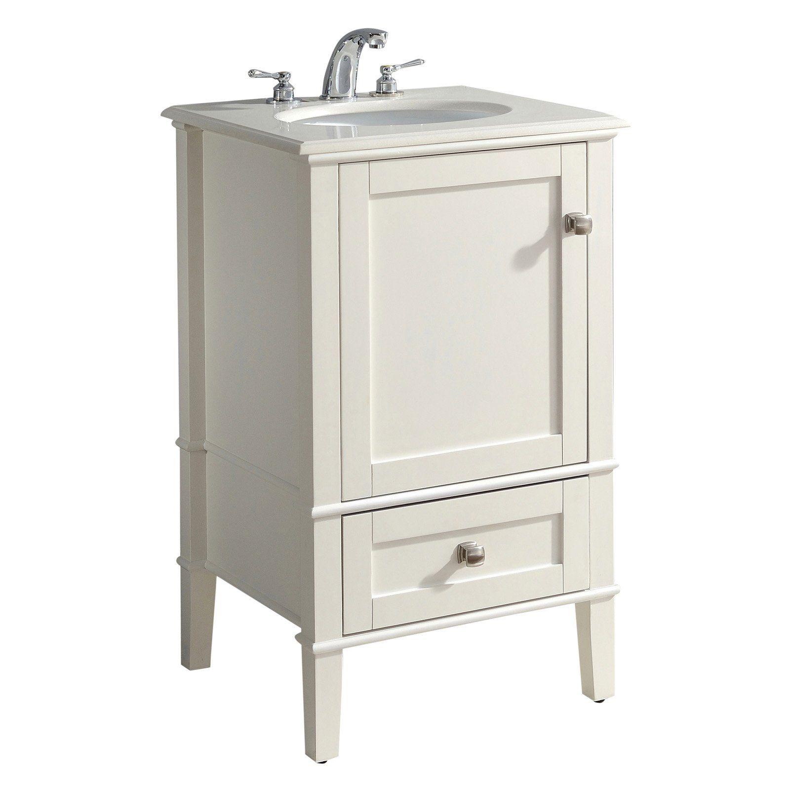 Brooklyn Max Chesapeake 20 In Bathroom Single Sink Vanity With Quartz Marble Top In 2020 Single Sink Vanity Vanity Sink