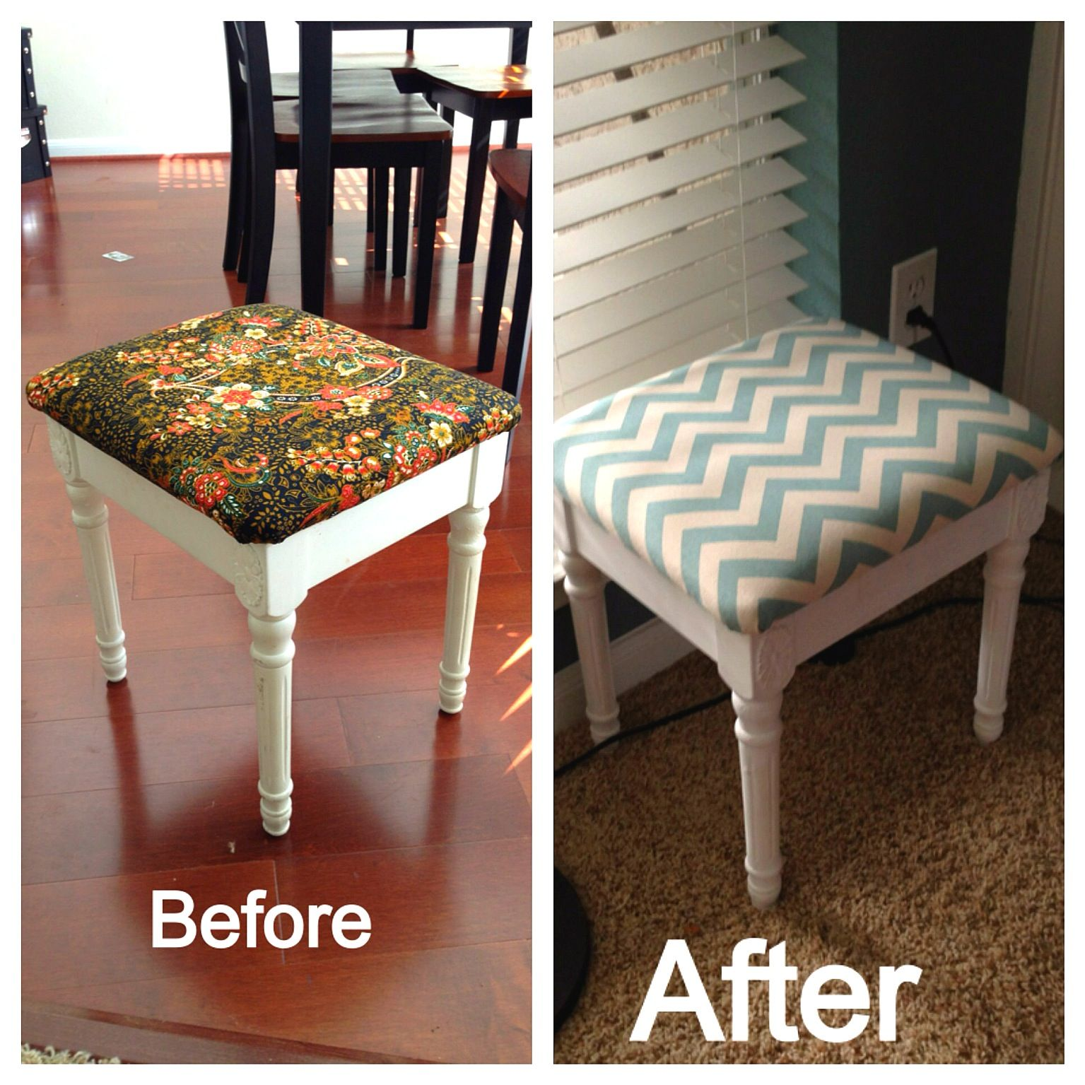 Brilliant Diy Reupholstered Stool Stool From Good Will And Ibusinesslaw Wood Chair Design Ideas Ibusinesslaworg