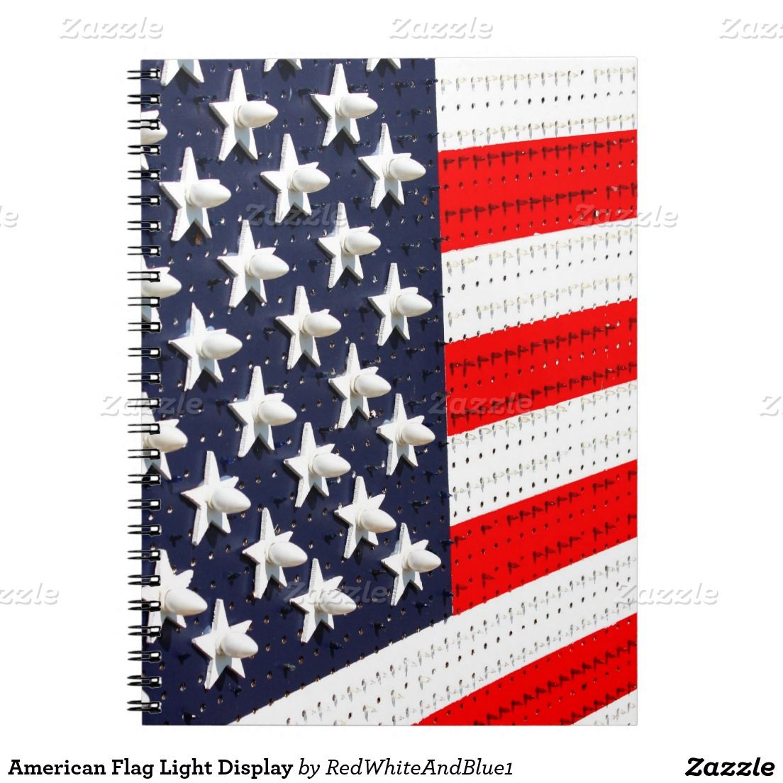 #American Flag Light Display Notebook by #RedWhiteAndBlue1 #gravityx9 #Zazzle