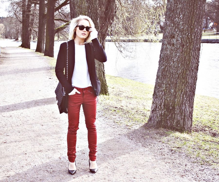 red coated jeans