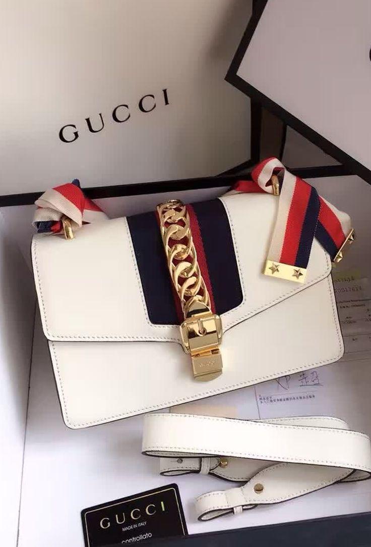 39839c7a52d1 Gucci Sylvie Leather Shoulder Bag White. Find details at http://www.