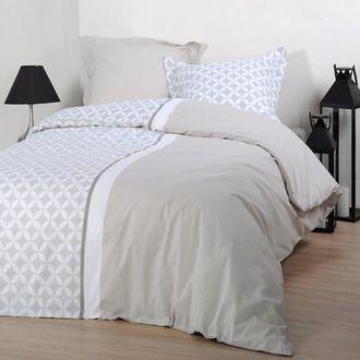 Parure Housse De Couette 100 Coton Taie Bi Motif Rosace Beige Malmo Home Bed Decor Interior Design Living Room