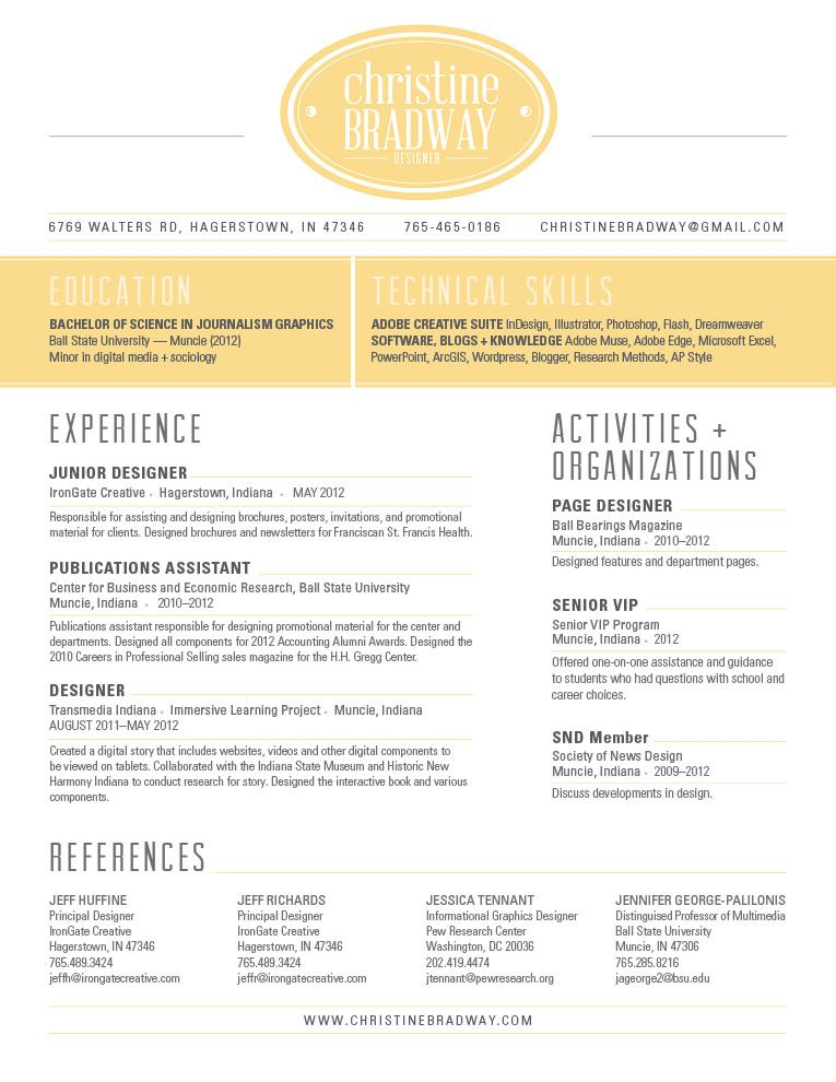 RESUME - Christineu0027s Portfolio Graphic Resume style Pinterest - ap style resume