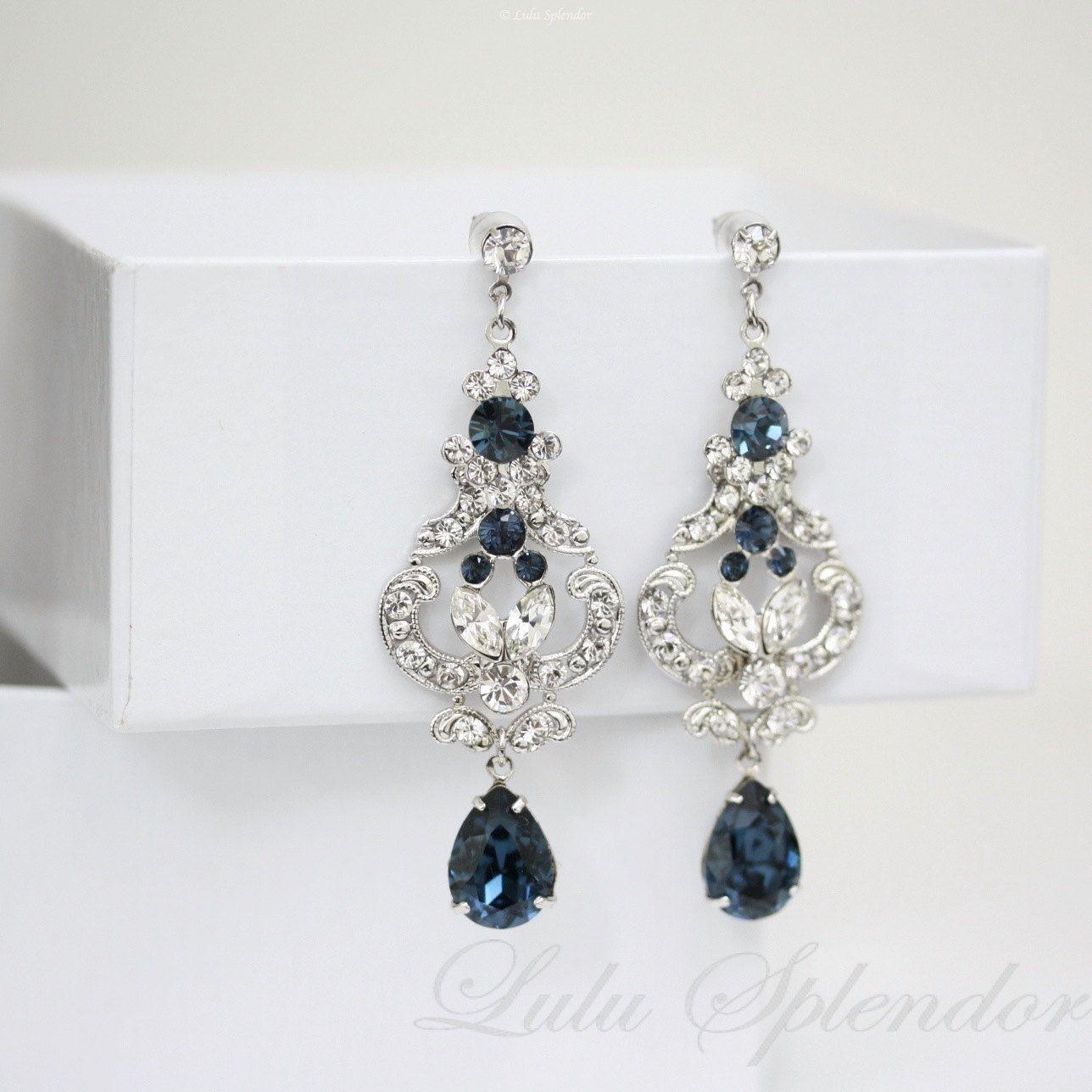 Blue Rhinestone Bridal Earrings Swarovski Crystal Chandelier Montana Wedding Jewelry Frances Mid 79 00 Via