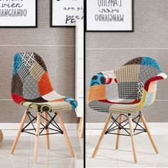 Patchwork Eiffel Chaise De Salle A Manger Salon Chrome Retro Moda