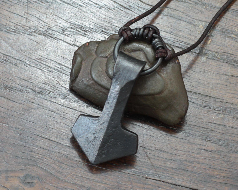 Viking Thors Hammer a forged large ringed Iron Mjolnir
