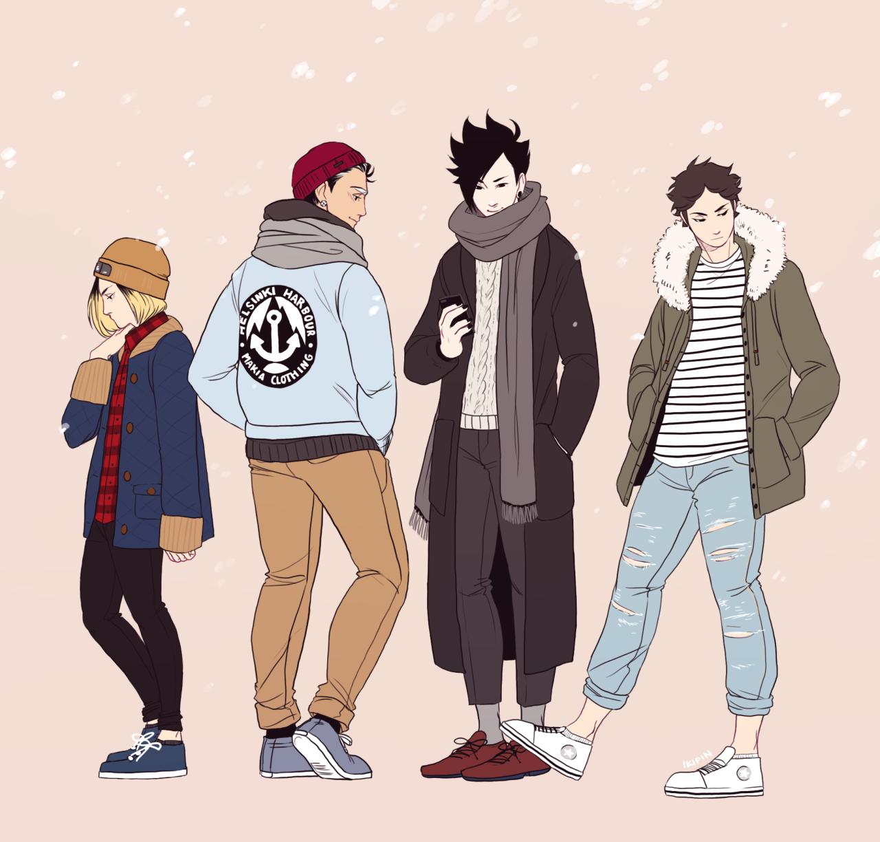 HQ clothes so fall/winter fashion Kenma, Bokuto, Kuroo