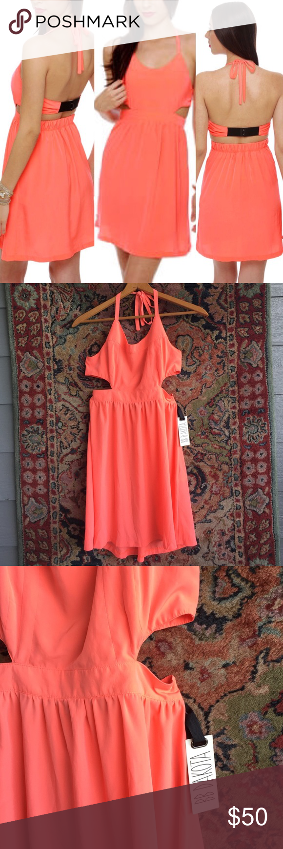"BB Dakota Halter Dress The only Dress you'll need in hot temps! A neon coral and adjustable back and neck tie. 14.75 - 15.25"" back, 12.75"" waist and 34.5"" L BB Dakota Dresses Mini"