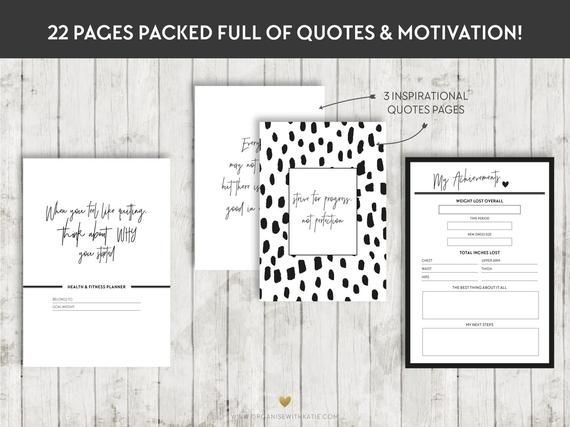 A5 HEALTH and FITNESS Planner, Printable Planner Inserts, Filofax, Kikki K, Habit, Weight loss, Weig...