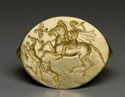 Ring with Artemis and a deer hunt - from ancient Greek, Classical Period, circa 425–400 B.C.