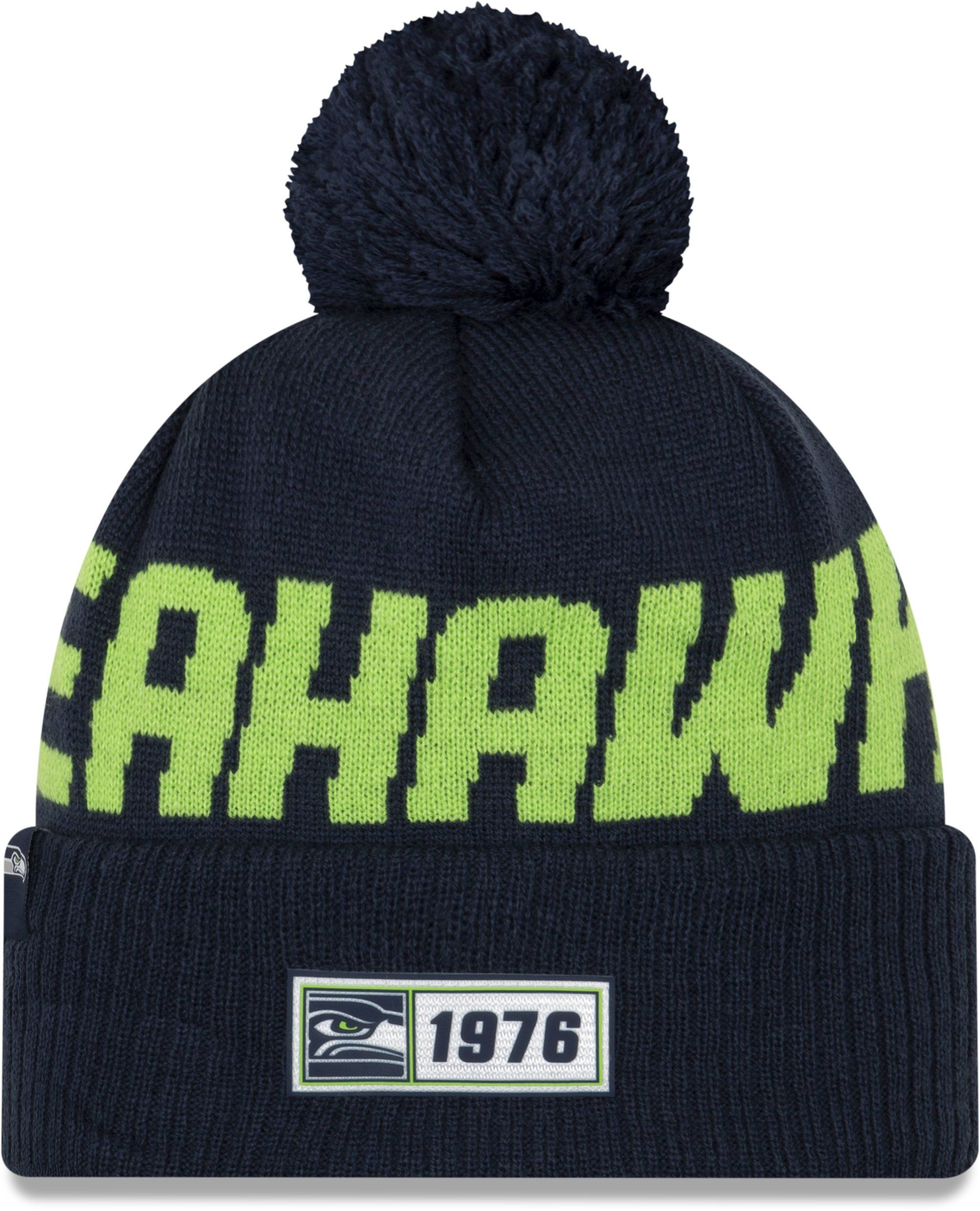 Seattle Seahawks New Era Nfl On Field 2019 Sport Knit Road Bobble Hat Seahawks Seattle Seahawks New Era