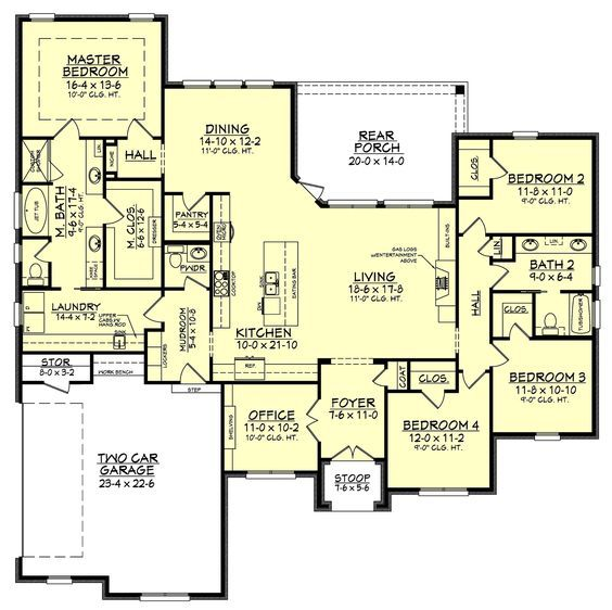 The Wonderful 4 Bedroom 2.5 Bath Home Design Features High Ceilings, Open Layout And Large Rear