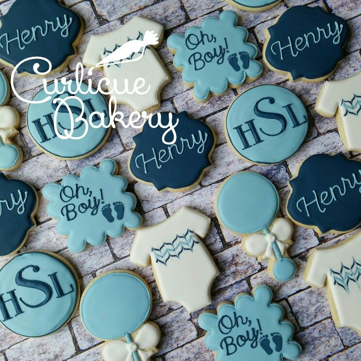 Oh Boy Classic Baby Boy Shower Decorated Sugar Cookies In Navy