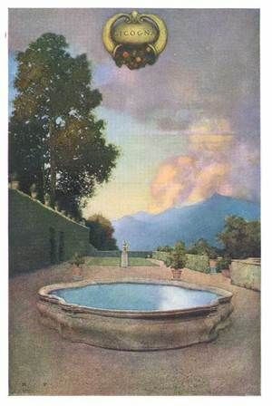 """Maxfield Parrish (American, 1870-1966). 'Villa Cicogna, Lago Maggiore' from """"Italian Villas and Their Gardens"""" by Edith Wharton (1904)"""