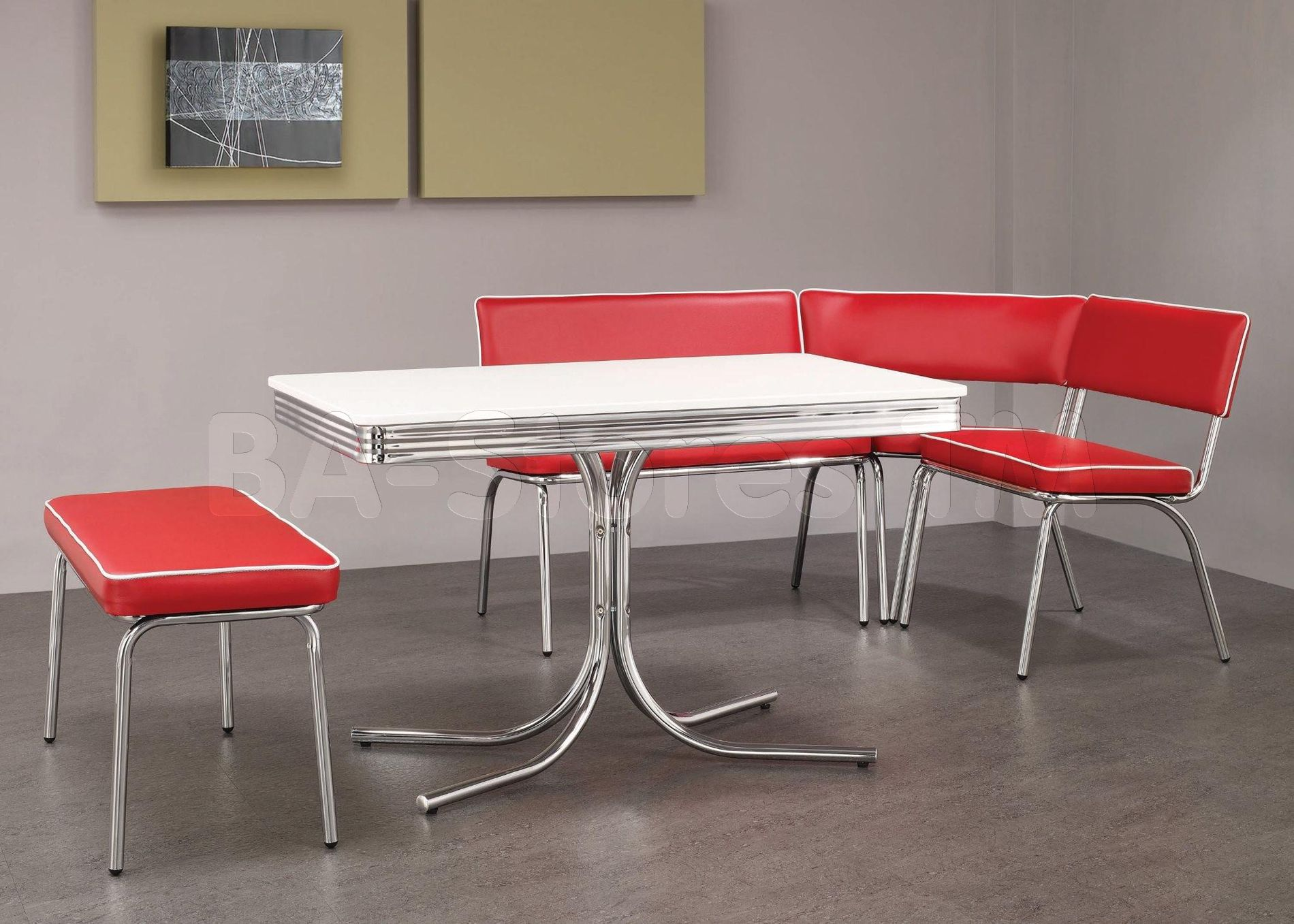 Exceptionnel Retro Chrome Dining Set In Red (Table, Corner Bench And Bench)