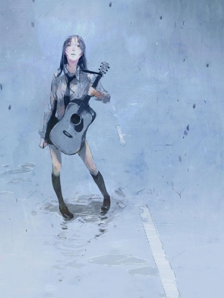 Anime girl with guitar in rain