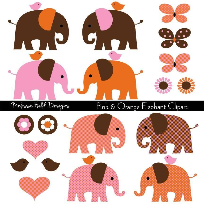 Pink Orange Elephant Clipart | Clip art, Elephant, Kids rugs