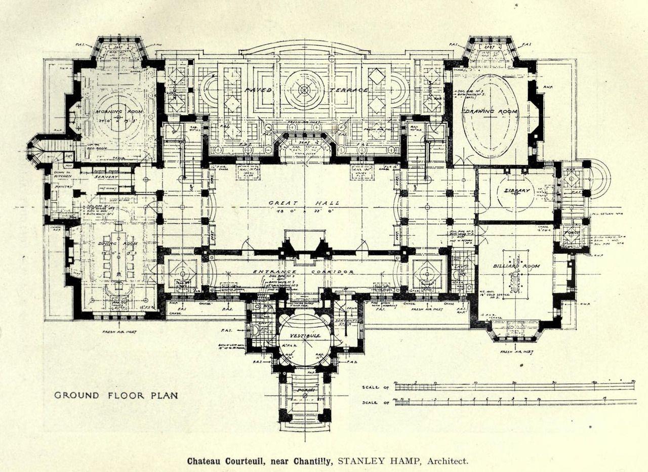 Project For The Chateau De Courteuil Chantilly Architectural Floor Plans Mansion Plans Floor Plans