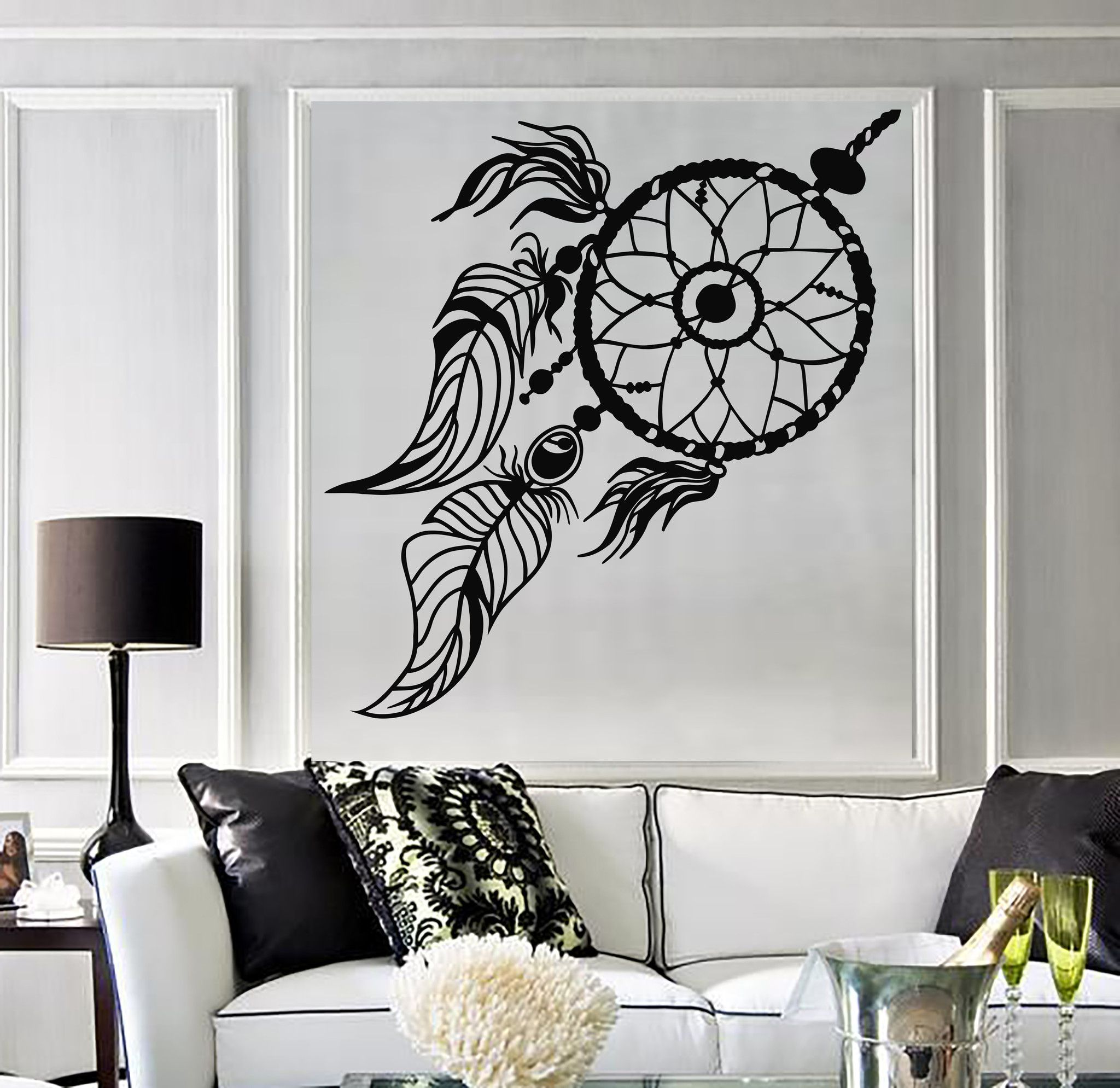 Wild birch forest with owls vinyl wall decal - Vinyl Wall Decal Dream Catcher Ethnic Style Dreamcatcher Stickers 649ig