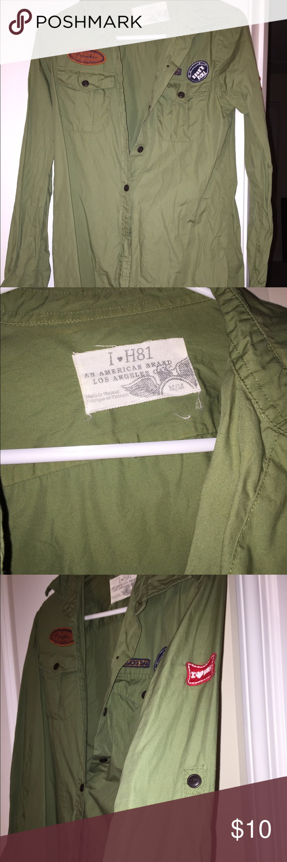 🎊LIKE NEW🎊 I 💚H81 Military Shirt I💚H81; (Hollister) Button-Down Shirt  A comfortable, button-front shirt with a military look, featuring front utility pockets, a curved hem and a button tab at each sleeve to hold folded cuffs in place.  Classic Fit.  Size: Medium I 💚H81 Tops Button Down Shirts