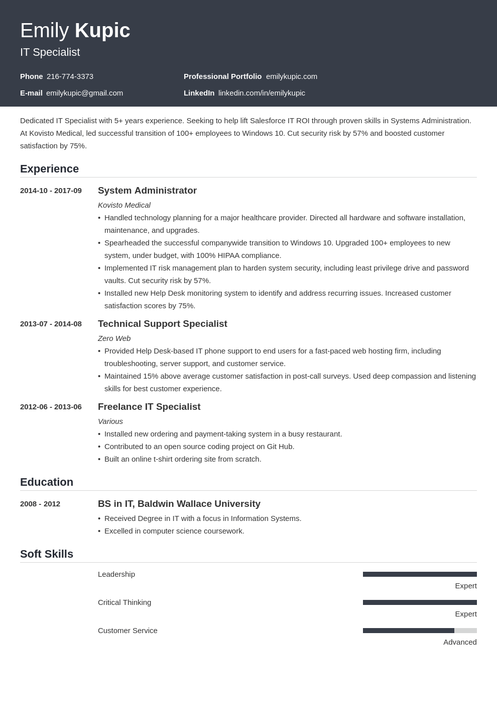 technical resume example template influx in 2020 Resume