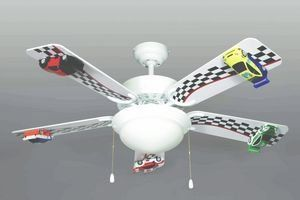 42 Race Car Ceiling Fan 5 Blade 2 Light 3 Sd New Home Kitchen