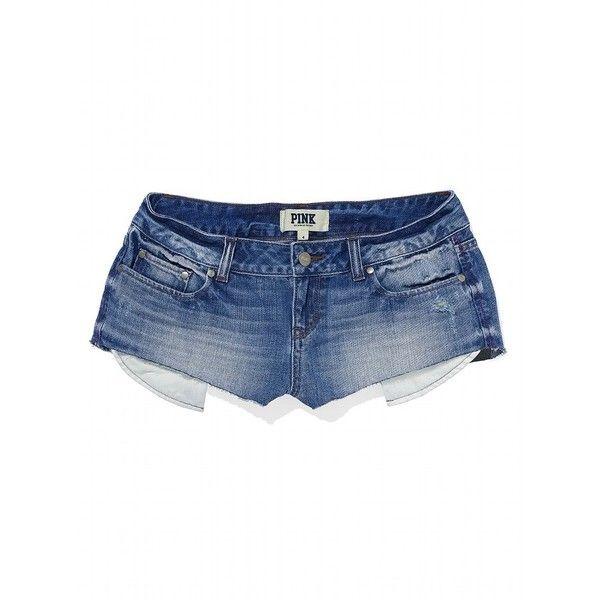 Victoria's Secret Denim Short ($40) ❤ liked on Polyvore featuring shorts, bottoms, short, pink, cutoff jean shorts, hot pink pants, low rise jean shorts, cut off shorts and pink short shorts