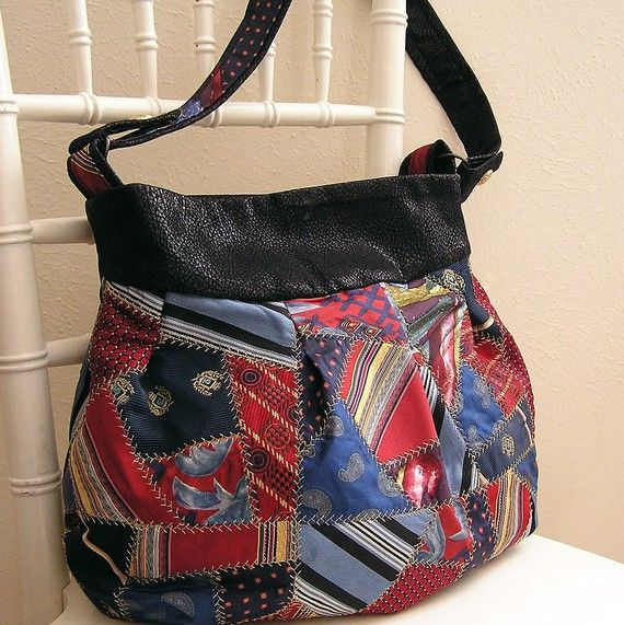 Purse on Etsy from seller efran. It's a crazy quilt neck tie purse! :)